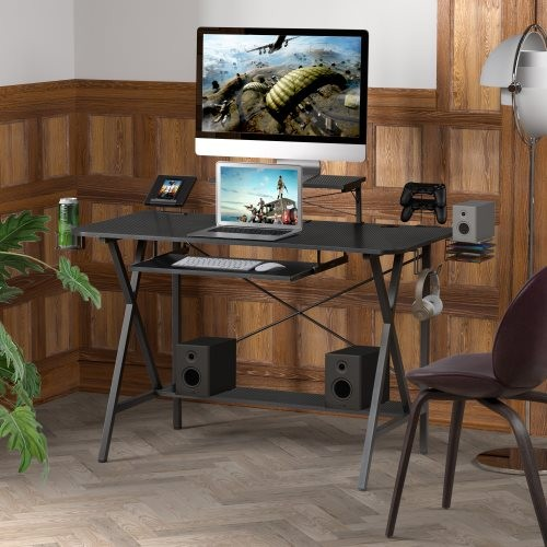 """47"""" Gaming Desk Table, E-Sports Computer Desk with PC Stand Shelf Keyboard stand Power Strip with USB Cup Holder & Headphone Hoo"""
