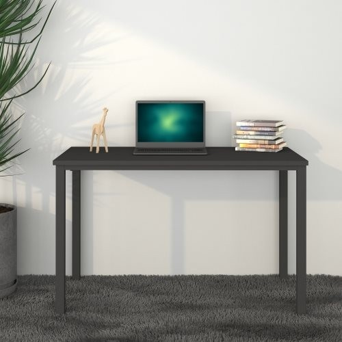 Black 47inch Computer Desk, MDF And Metal Multi-function Table For Dining and Living Room,Modern Minimalistic Style, Solid Sturd