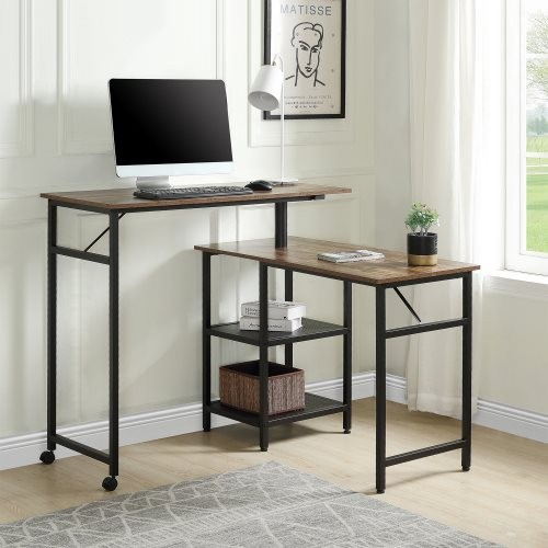 Home Office L Shaped Rotating Standing Computer Desk, Industrial 360 Degrees Free Rotating Corner Computer Desk with Storage She
