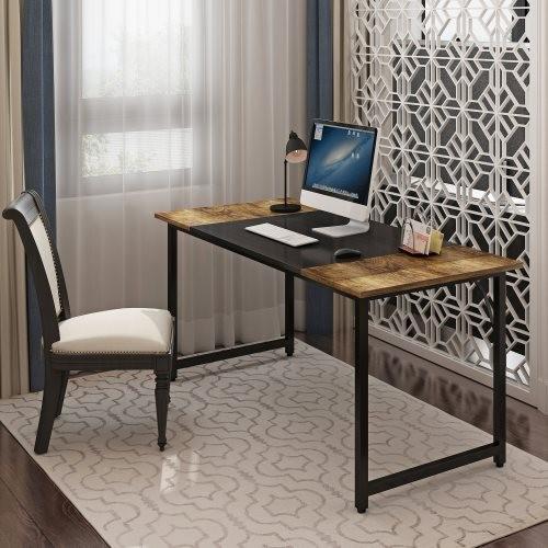 A Contrasting Color Splice Board Design Computer Office Desk, Home Office Writing Desk, Black