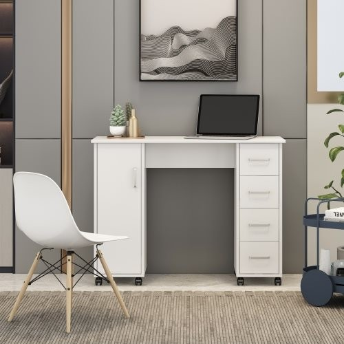 Home Office Computer Desk Table with Drawers White Black