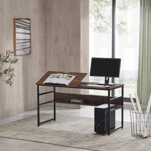Home Office Large Draft Drawing Table with Tiltable board and Bottom bookshelf Multifunctional Study Writing Table, Tiltable PC