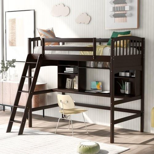 Twin size Loft Bed with Storage Shelves, Desk and Ladder, Espresso