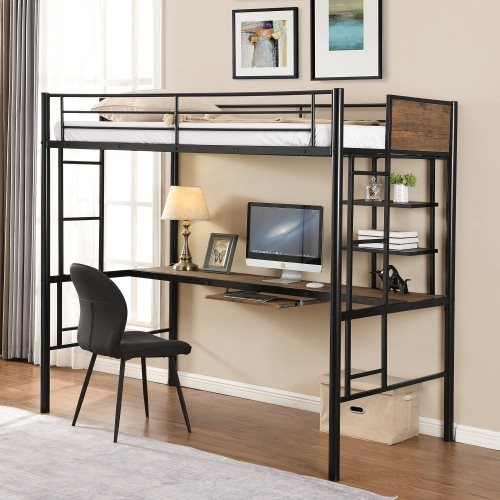 Loft bed with desk and shelf , space saving design