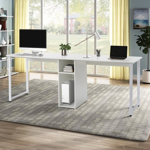 Home Office 2-Person Desk, Large Double Workstation Desk, Writing Desk with Storage(white)