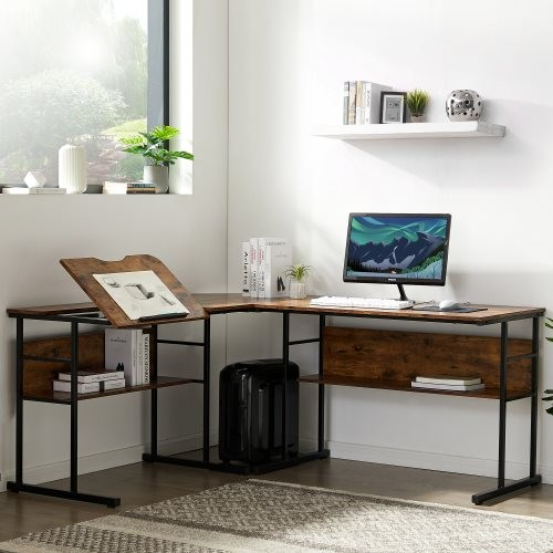 Home Office L-Shaped Desk with Bottom Bookshelves and CPU Stand, Multi-Function Drafting Drawing Table with Tiltable Desktop for