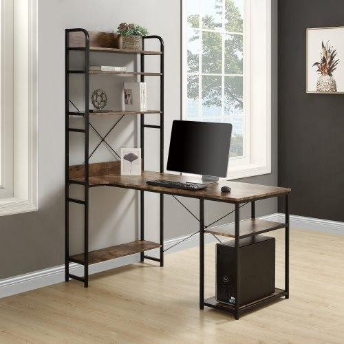 Home Office computer desk——Metal frame and MDF board/5 tier open bookshelf/Plenty storage space(Brown)