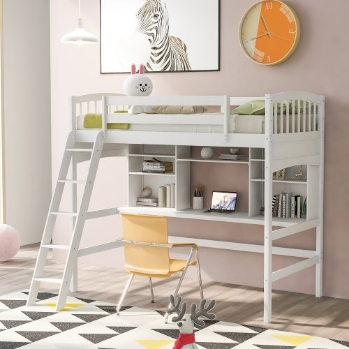 Twin size Loft Bed with Storage Shelves, Desk and Ladder, White