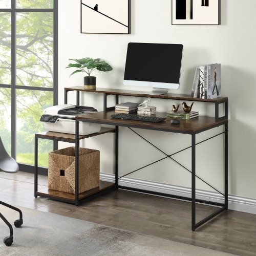 Home Office 59 inch Computer Desk with Storage Shelves and Monitor Stand Riser Shelf/Study Writing Desk Computer Table(Tiger)