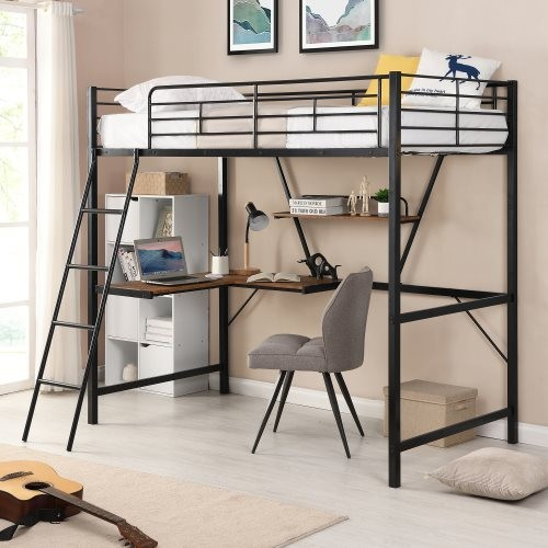 Metal Loft Bed with L-shaped Desk and Shelf, Black(New)