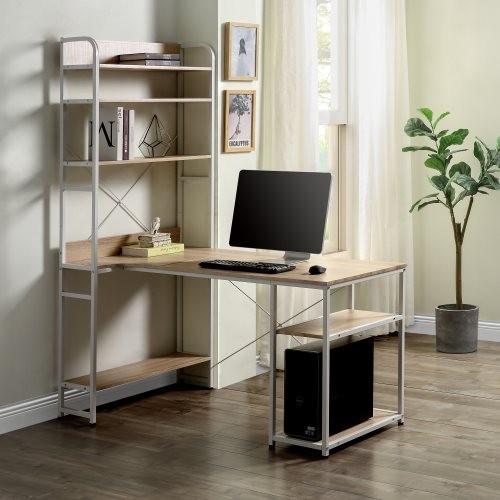 Home Office computer desk——Metal frame and MDF board/5 tier open bookshelf/Plenty storage space(Oak)