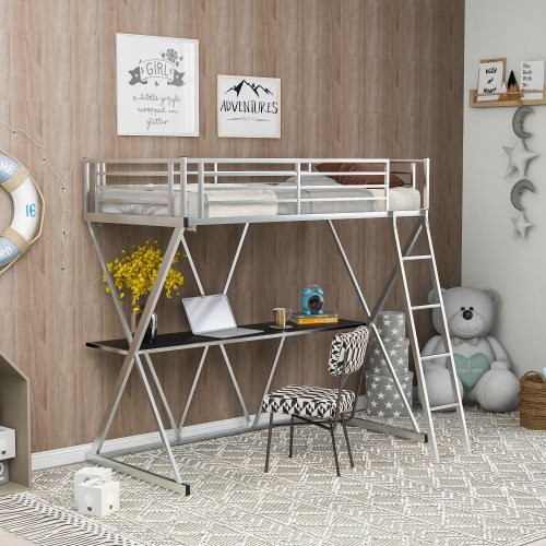 Steel Twin Loft Bed with Desk, Loft Bed with Ladder and Full-Length Guardrails, X-Shaped Frame, Silver(New)