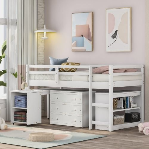 Low Study Twin Loft Bed with Cabinet and Rolling Portable Desk, White