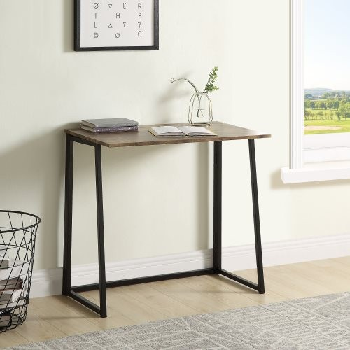 Folding Computer Desk with Industrial Style Folding Laptop Table for Small Space Offices,No-Assembly Small Computer Desk , Brown