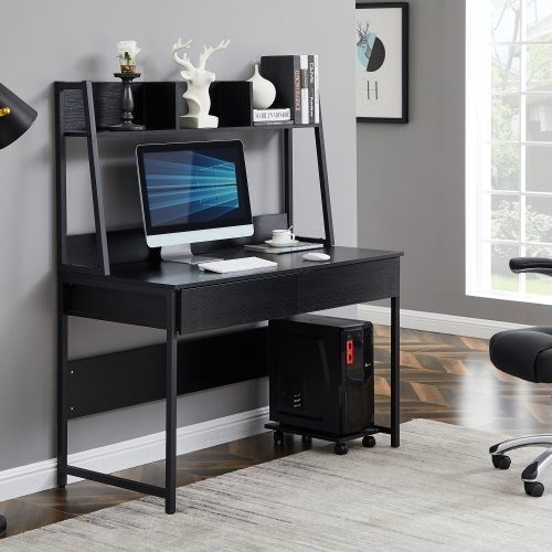 Home office Computer Desk with Hutch/ Bookshelf, Desk with Space Saving Design(Black)