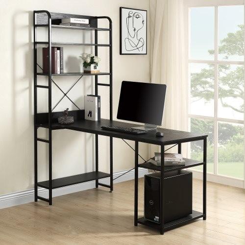 Home Office computer desk——Metal frame and MDF board/5 tier open bookshelf/Plenty storage space(Black)