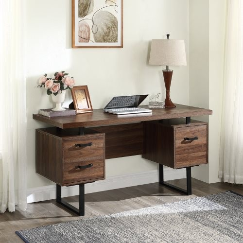 Home Office Computer Desk with drawers/hanging letter-size files/59 inch Writing Study Table with Drawers