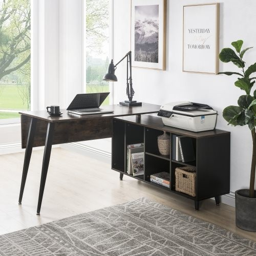 Home Office L-Shaped Computer Desk with Storage Shelves, Large Executive Office Desk with Cabinet (Brown)