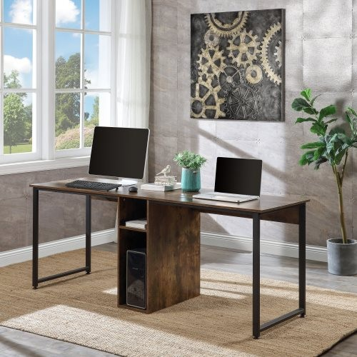 Home Office 2-Person Desk, Large Double Workstation Desk, Writing Desk with Storage,Brown