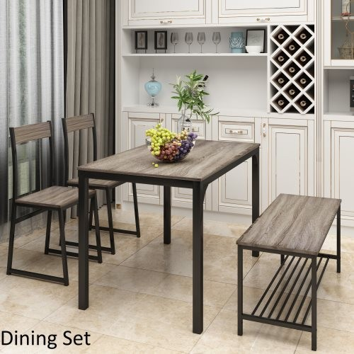TOPMAX 4 Piece Dining Set for 4 Kitchen Table Set Computer Desk with 2 Chairs and Bench for Home Dining Room, Gray