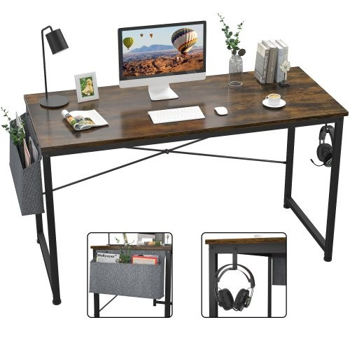 Computer Desk 47 inch Home Office Writing Study Desk, Modern Simple Style Laptop Table with Storage Bag,Rustic Brown