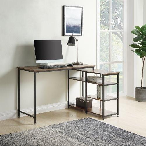 "Home Office L-Shaped Computer desk,Left or Right Set Up, Vintage Brown Industrial Style Corner Desk with Open Shelves , 47"" L(Br"