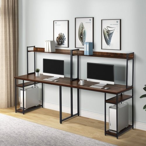 home office double Workstation Desk, Two Person Computer Desk with Storage, Spacious tabletop, Multifunction Writing Desk with S
