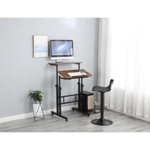 Multipurpose Home Office Computer Desk, Sit and Stand Desk, Workstation Desk(Rustic Brown)