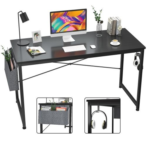 Computer Desk 47 inch Home Office Writing Study Desk, Modern Simple Style Laptop Table with Storage Bag,Black