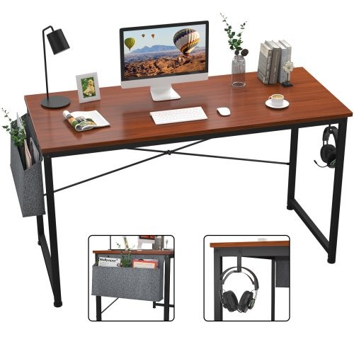 Computer Desk 47 inch Home Office Writing Study Desk, Modern Simple Style Laptop Table with Storage Bag,Teak