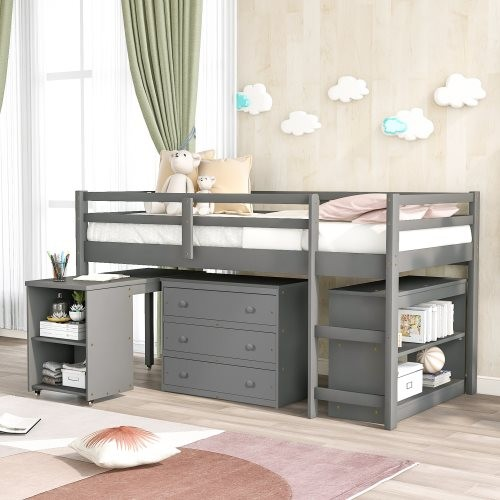 Low Study Twin Loft Bed with Cabinet and Rolling Portable Desk, Gray