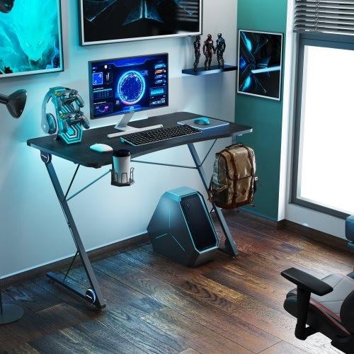 Gaming Desk, Z-Shaped Professional E-Sport Gamer Workstation with LED Lights & Large Carbon Fiber Surface, Ergonomic PC Gaming T