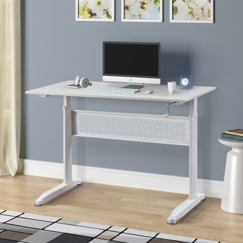 Office desk/Adjustable Height Standing Desk with Crank Handle(White)