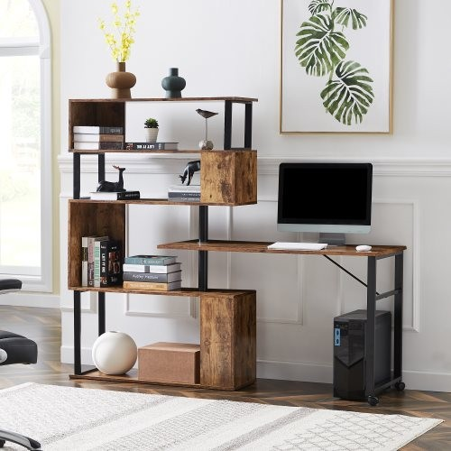 Home Office Computer Desk L-Shaped Corner Table, Rotating Computer Table with 5-Story Bookshelf,four installation methods,Lockab