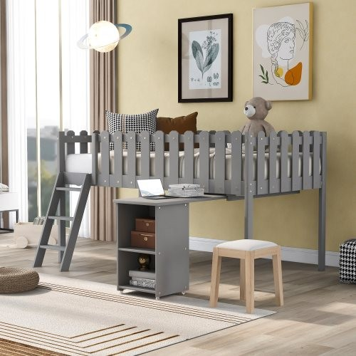 Twin Size Loft Bed with Desk and Cabinet, Gray