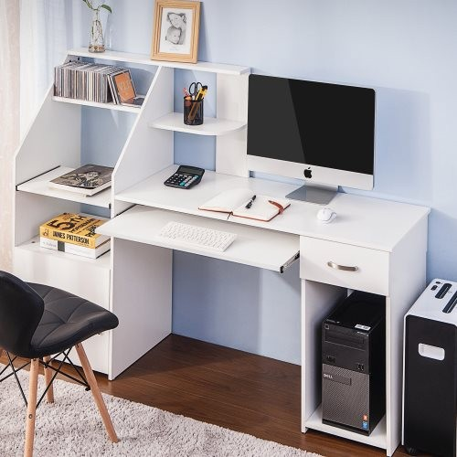 Multi-Functions Computer Desk with Cabinet (White)
