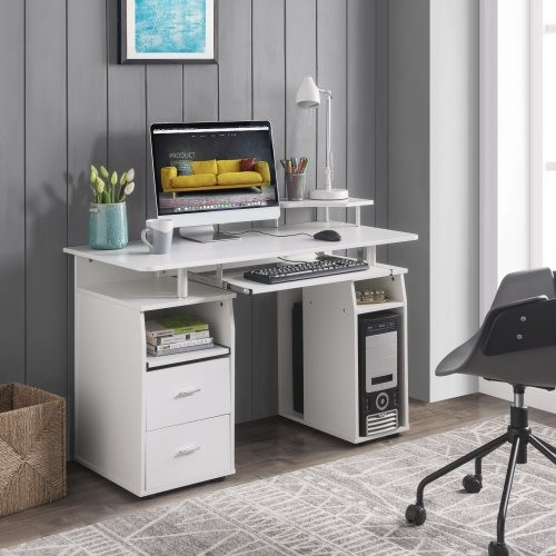 U_STYLE Computer Desk with Drawers , Wood Frame Home Office Desk with Spacious Desktop