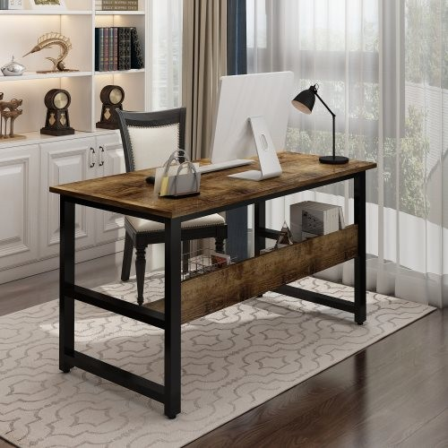 A Multi- Purpose in One Design Computer Desk, Home Office Writing Desk, Black Metal Frame, Charcoal Wood Color