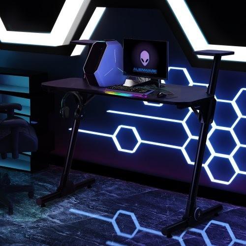 Home Office Gaming Desk/ Computer Desk /Z-Shaped PC Desk Workstation with Carbon Fiber Surface and Headphone Hook,Black