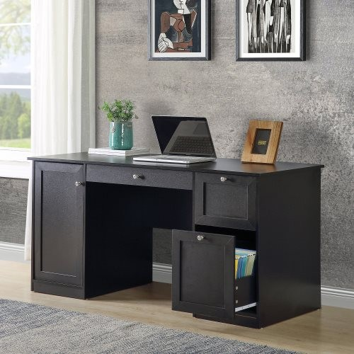 Home Office Computer Desk with 2 Drawers/Pullout Keyboard/ Storage cabinet(Black)