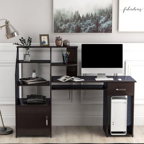 Multi-Functions Computer Desk with Cabinet (Espresso)
