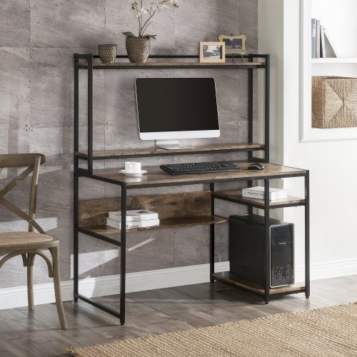 Home Office Computer Desk with 2-Tier Bookshelf and Open Storage Shelf/Equipped with Removable Monitor Riser(Brown)