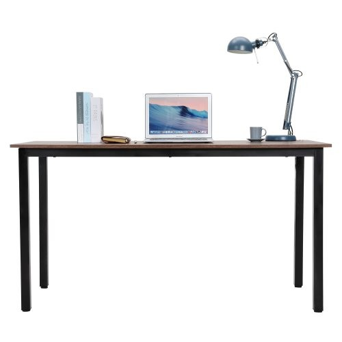 Art Life Computer Desk - 55 inch Writing Study Desk for Home Office Workstation - Simple Retro Table with Sturdy Metal Frame for