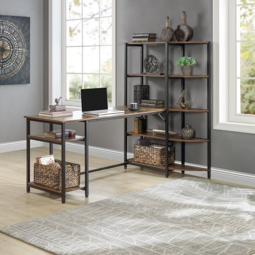 Home Office Computer Desk with 5 Tier Storage Shelves,Large Office Desk Study Writing Table Workstation with Corner Bookshelf an
