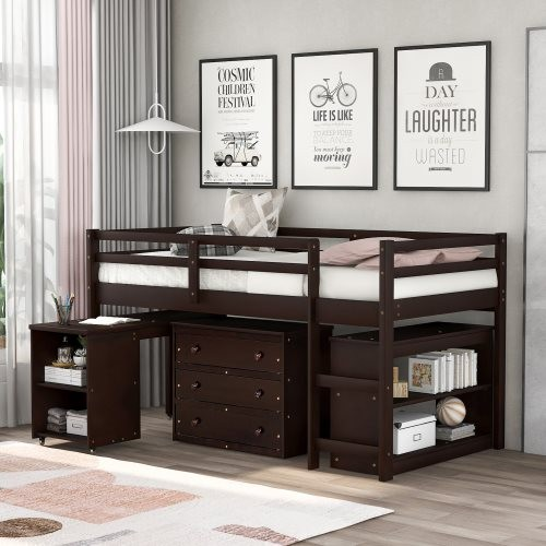 Low Study Twin Loft Bed with Cabinet and Rolling Portable Desk, Espresso
