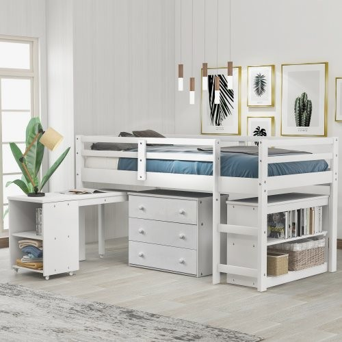 Low Study Twin Loft Bed with Cabinet and Rolling Portable Desk White