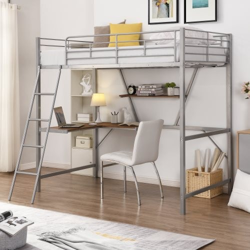 Metal Loft Bed with L-shaped Desk and Shelf, Silver(New)