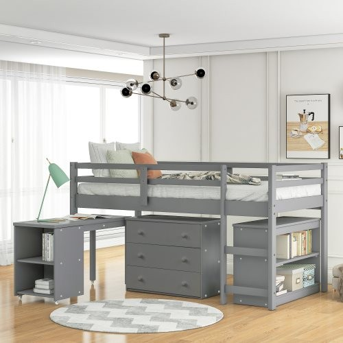 Low Study Twin Loft Bed with Cabinet and Rolling Portable Desk Gray