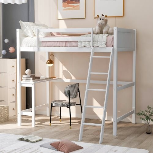 Twin size Loft Bed with Desk and Ladder-White