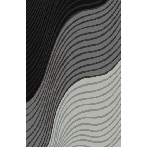 Triple Color Area Rug With Abstract Linear Design